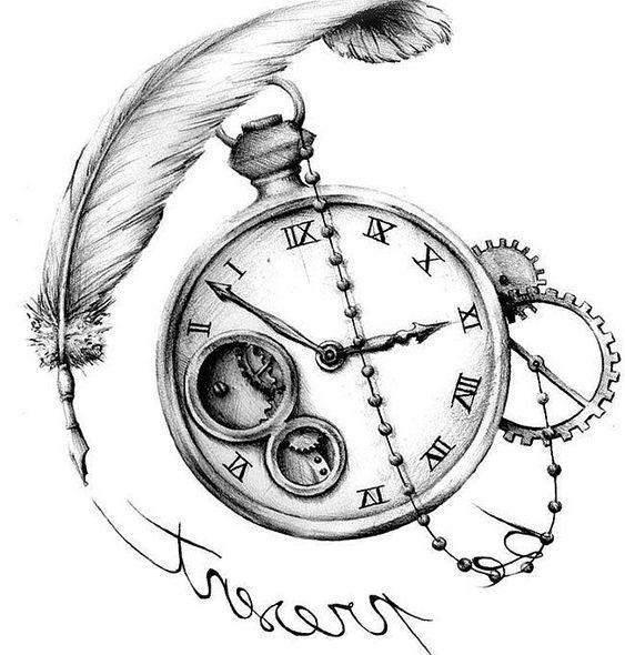 Reloj Con Pluma Dibujo Reloj De Bolsillo Ver Tatuajes Tatuaje Reloj De Bolsillo