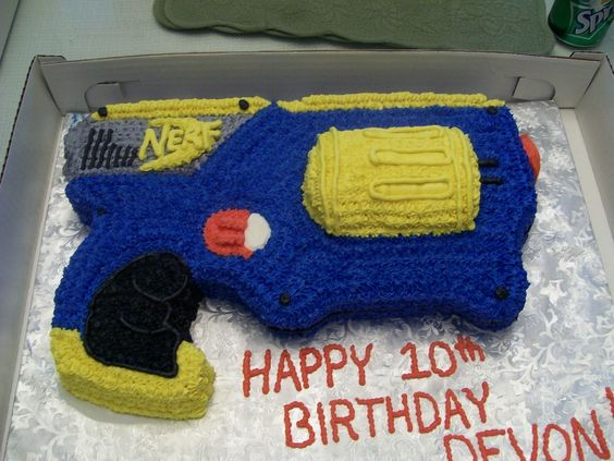 Gun Cake Decorating Ideas : nerf+cake+pans nerf gun cake vanilla butter cake with ...