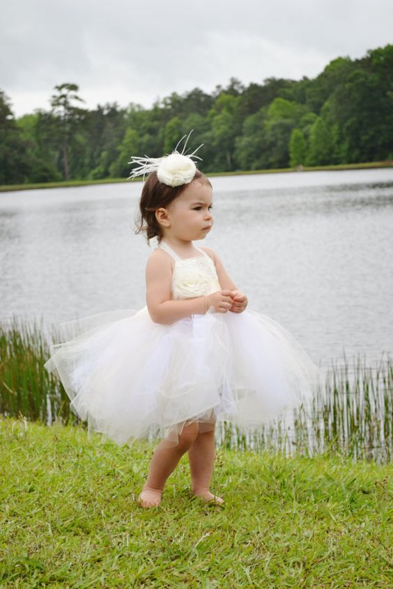 Tulle &amp Lace Tutu Flower Girl Dress - An Ivory or White Dress ...