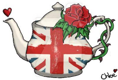 Union Jack Teapot and Rose Tattoo by KorueSenpai
