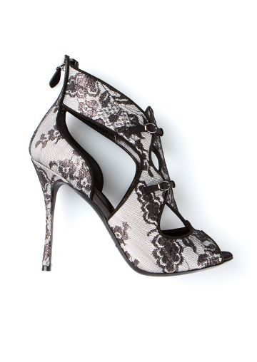 Nicholas Kirkwood black and white lace sandals