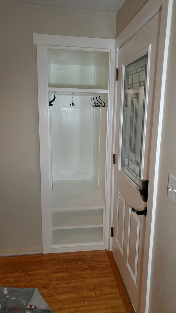 Small Foyer With Closet : We fixed a small entry closet and added shoe box extra