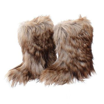 Vintage Goat Fur Snow Boots 70s 80s 1970s 1980s Shaggy Yeti ...