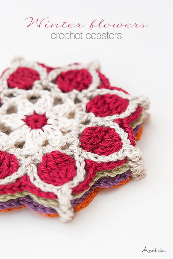Anabelia craft design: Winter Flowers crochet coasters, crochet motif # 1...