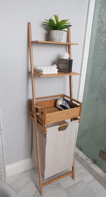 Bamboo Shelf Laundry Basket Muebles De Entrada Muebles De Bano
