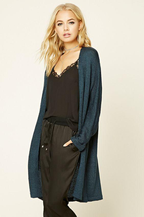 A longline knit cardigan featuring an open front, long dolman ...