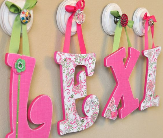 Custom letters nursery hanging wall letters baby name for Baby name letters decoration