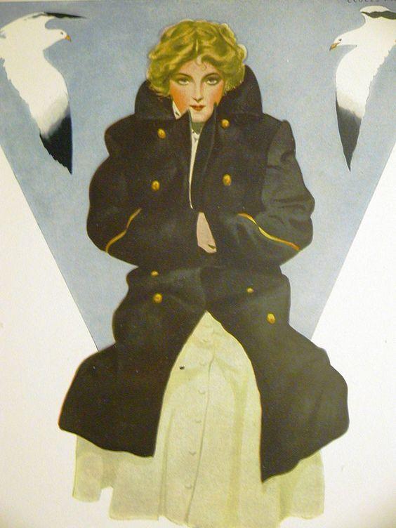 Coles Phillips GIRL in SAILOR COAT w SEA GULLS 1911 Antique Art Matted #Vintage