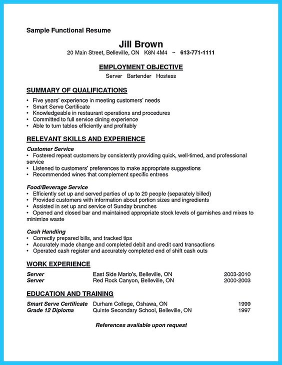 awesome Excellent Ways to Make Great Bartender Resume Template - bartending resume skills