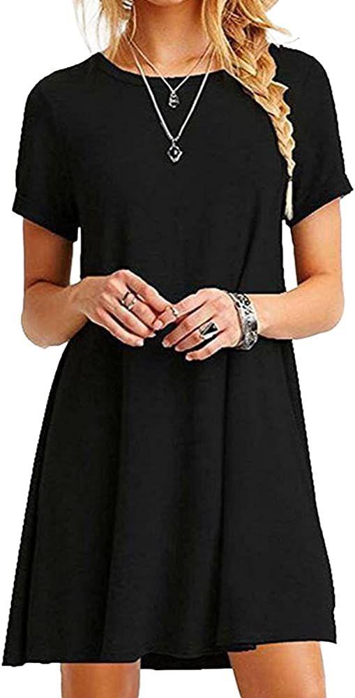 Yoins Sommerkleid Damen Tunika Tshirt Kleid Bluse Kurzarm Minikleid Boho Maxikleid Rundhals Schwarz Eu36 38 M Amazon In 2020 Kleider Damen Minikleid Freizeitkleider