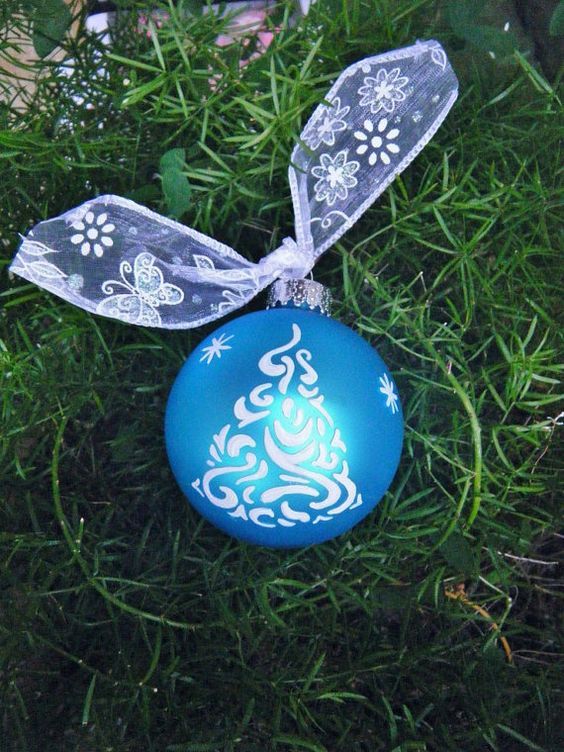 Handpainted Christmas Tree Ornament Modern Zentangle
