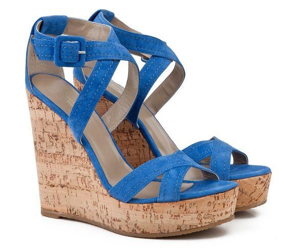 blue wedges | ... cross straps High cork wedge heel Sandals ...