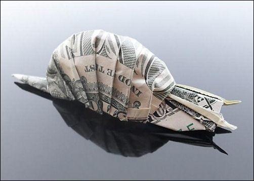 Dollar Origami - Snail: