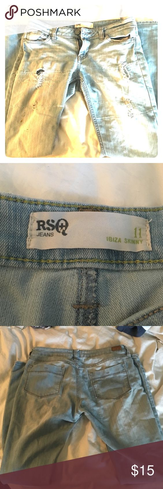 Light wash denim RSQ jeans size 11 MY BELOVED PAIR OF JEANS. These are awesome but I dropped a lot of weight and they won't fit me anymore. Super in tact and need a new home that will love them! These are RSQ brand and fit snugly with a little stretch. They have a couple acrylic paint stains on them as seen in the last picture but I think it adds a lot of character to them. They make your ass look great. They are super comfy. The best pair of jeans I've owned. Please give them a good home…