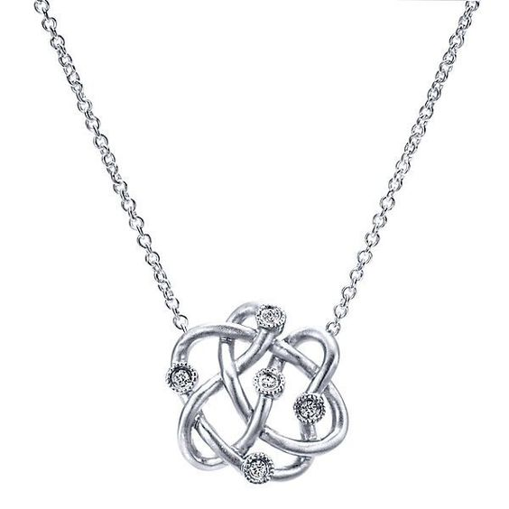 Sterling Silver Freeform Necklace with Diamond Accents