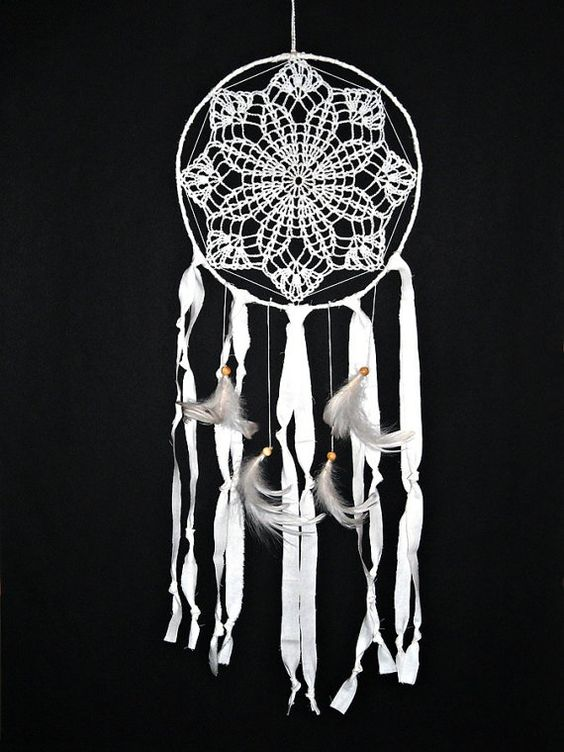 Dream catcher crochet lace white doily wall decoration by wincsike, $38.00