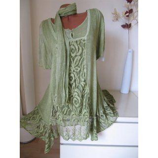 Zipfel Tunika Kleid Shirt Spitze Schal Batik K-arm 46 48 50 Grü