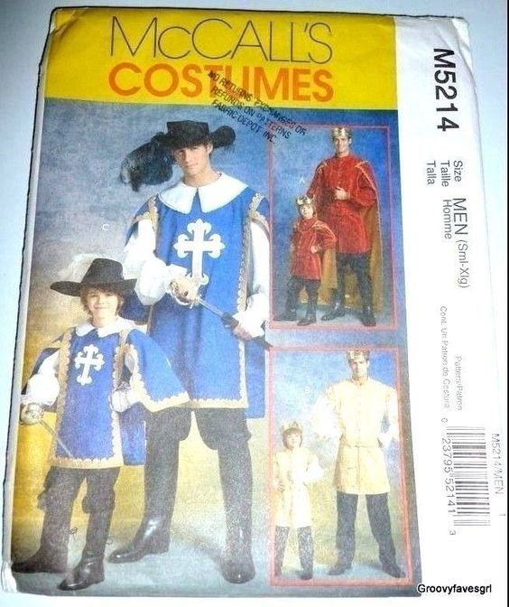 Halloween Renaissance Musketeer Prince Medieval French Costume Sewing Pattern…