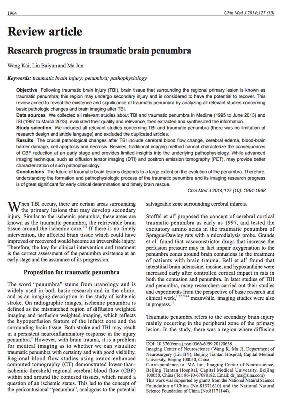 See the full article here: http://www.strokebreakthrough.com/wp-content/uploads/Kai-Traumatic-Brain-Penumbra-2014.pdf