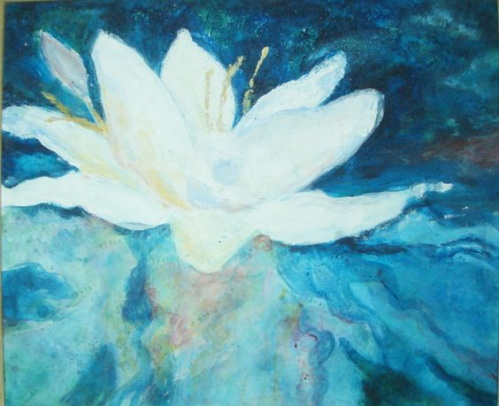 "Essence of Peace, 20 x 24, acrylic,  ink  on canvas. The Water Lily painting was started by with a wash of perfumed vibrational essence of ""Peace"" gathered from water lilies. The word peace is subtly printed in the flowing veils of background color. A great reminder: Be at Peace."