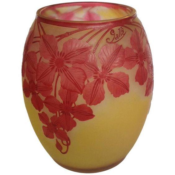 E Galle Red Flowers Vase | 1stdibs.com: