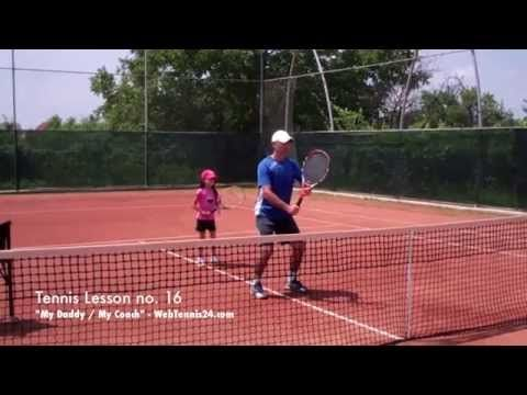 Teaching The Volley Tennis Lesson For Kids Here I Teach My 7 Year Old Daughter How To Volley Technique Tennis Lessons Tennis Lessons For Kids Kids Tennis