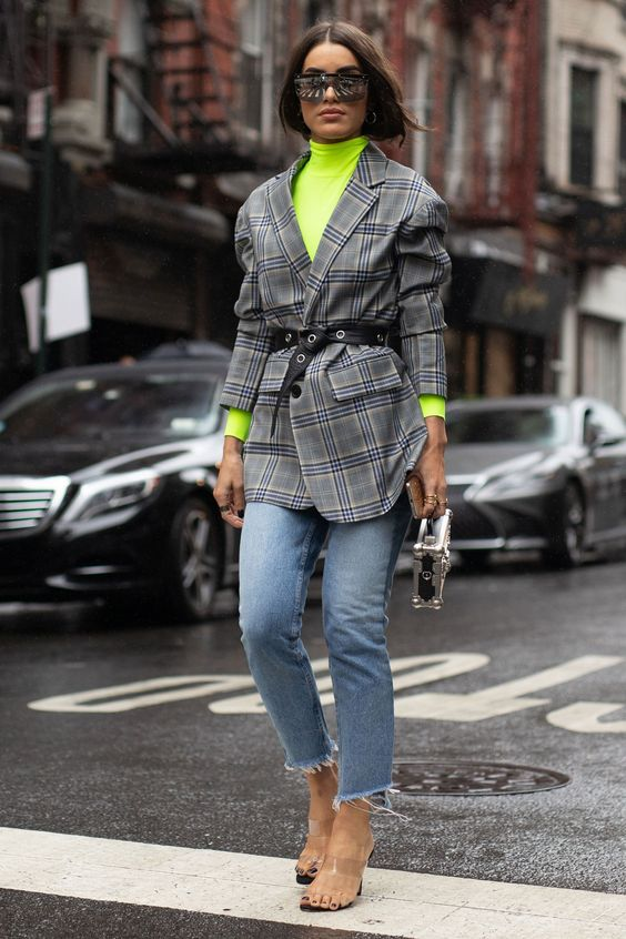 How the NYFW street stylers are embracing the autumn weather- HarpersBAZAARUK. Camila Coelho #newyork #streetstyle #camilacoelho #plaid #jacket #neon #green #jeans #harpersbazaar