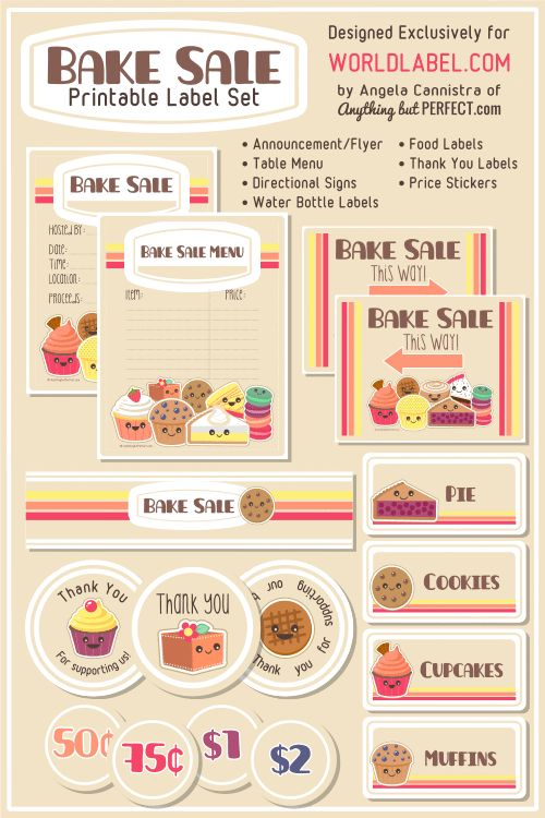 FREE Bake Sale Printables Bake sale, Printable labels and Set design - for sale template free