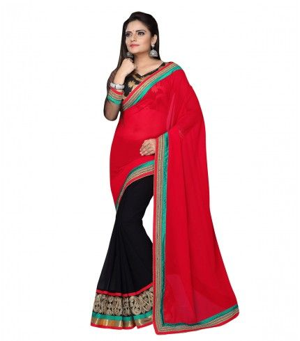 Buy Black Color Georgette Saree with Red Color Pallu Designed With Heavy emboridery lace . Shop online at manjubaa.com