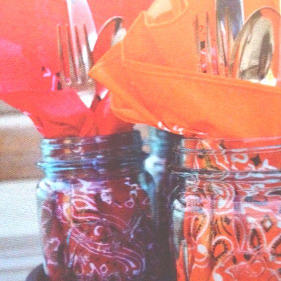 Cute table setting idea. Mason jar, bandanna for napkin.