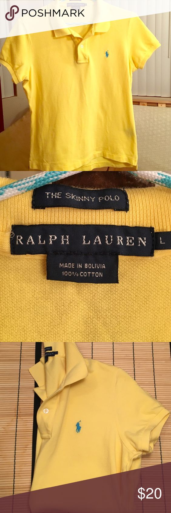 Ralph Lauren PoloLrgSkinny FitBright Yellow Great Condition Ralph Lauren Polo Shirt  Dandelion Yellow with Turquoise Polo Logo  Skinny Fit Large (Will Fit Snug/More Like a Medium)  Additional Colors Available  See Closet Listings for More!! Ralph Lauren Tops Tees - Short Sleeve