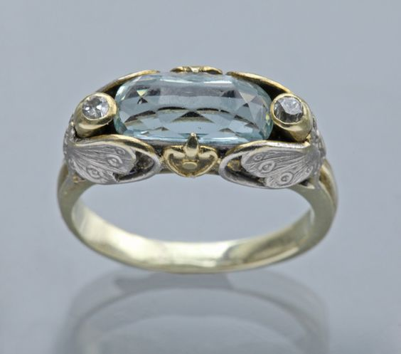 ART NOUVEAU Butterfly Ring. Two Colour Gold Aquamarine