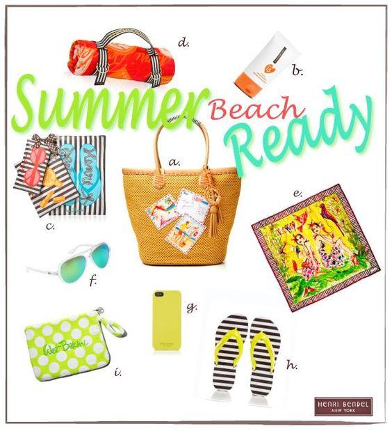 Summer must haves: adorable phone case, flips, beach towel, sunglasses, beach bag, fun napkin set, bright wallet