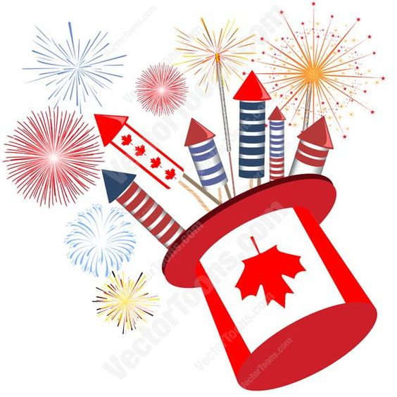 Canadian Flag Top Hat Filled With Firework Rockets With Fireworks In Sky In Background #banner #birthday #canada #canadian #celebration #detail #display #fireworks #flag #header #holiday #identity #July-1 #logo #maple-leaf #nationalism #patriotic #PDF #pride #red #rockets #symbol #vector-graphics #vectors #vectortoons #vectortoons.com #white