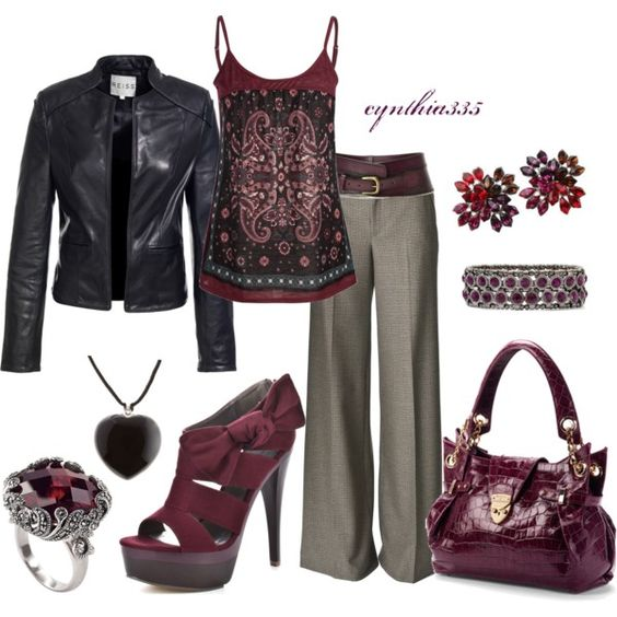 """""""Leather and Plum"""" by cynthia335 on Polyvore"""