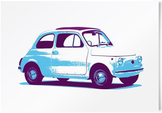 Vintage Fiat 500 limited edition print. #vintage #cars #retro #limited #edition #prints   www.freireprintz.co.uk