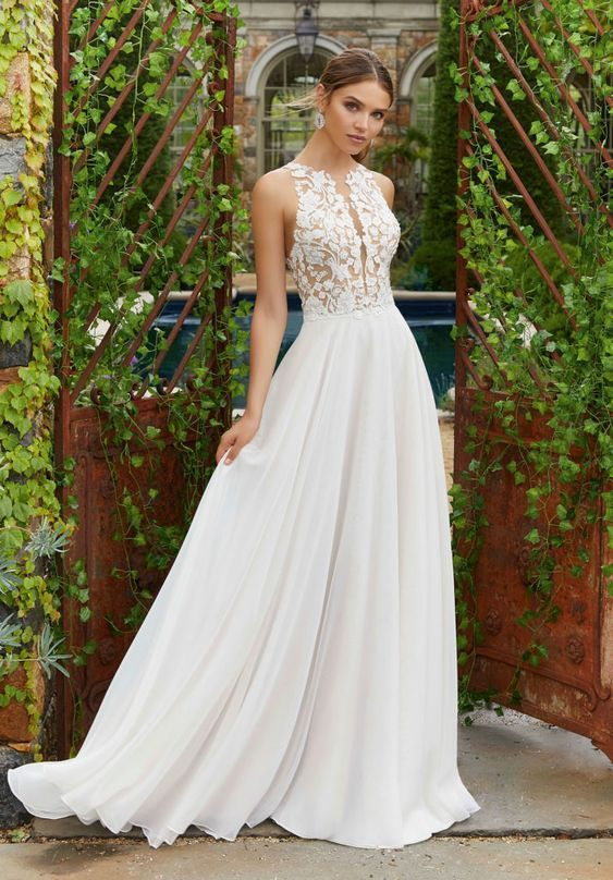 Clear Crystal And Pearl Beaded Embroidery On Net Bodice With A Line Chiffon Skirt And Waistba A Line Wedding Dress Ruffle Wedding Dress Western Wedding Dresses