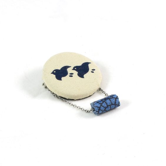 Fabric Brooch Textile Brooch Fiber Jewelry Pin Back Lapel Pin Gift for Her Fabric Pin Japanese Print Blue Bird Navy Blue Beige OOAK