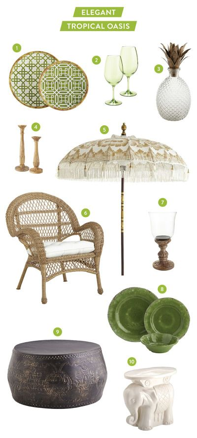 Creating a tropical oasis in your own backyard: http://www.stylemepretty.com/living/2015/06/17/creating-an-elegant-tropical-oasis-with-pier-1-imports/