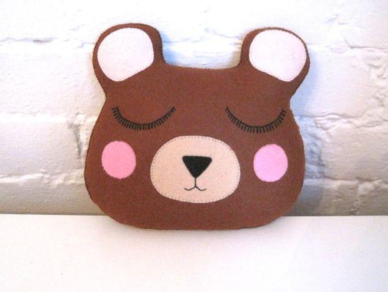 Bear Pillow  Woodland Plush Felt Stuffed by ClaireyLouCreations