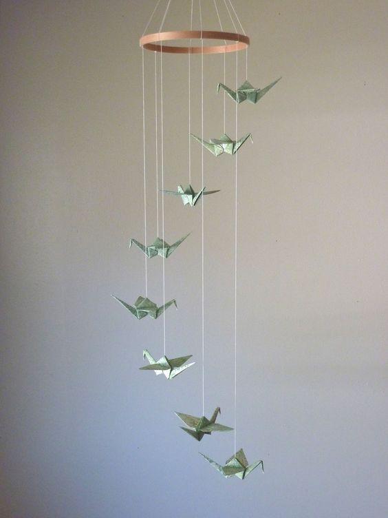 Origami Crane Mobile Children Decor Baby Mobile Eco
