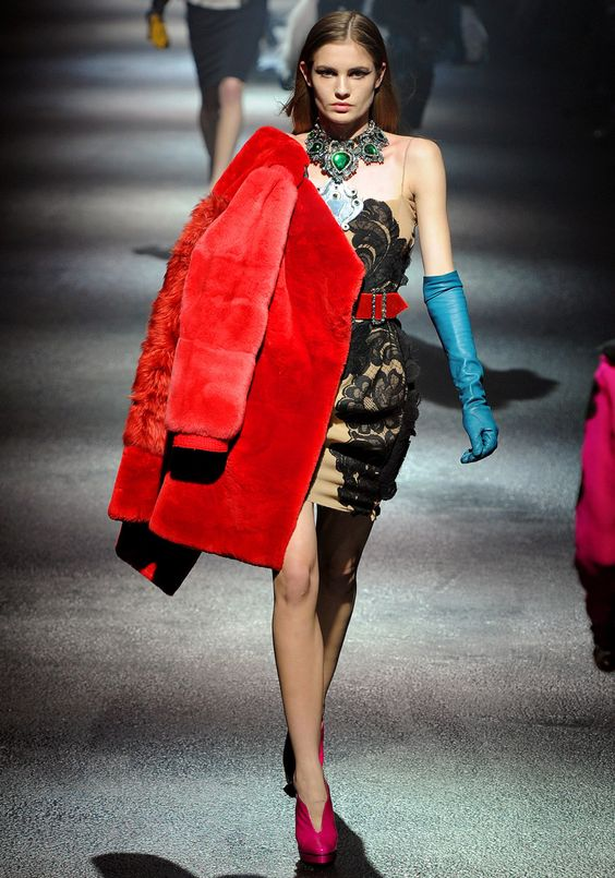 Lanvin Fall 2012 RTW The red fur coat with blue leather gloves, green necklace and hot pink booties. color blocking