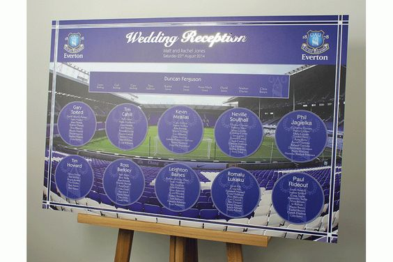 Everton, Everton fc and Wedding table plans on Pinterest