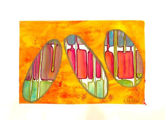 "Gelli print mono print, collage, hand painted - 22 x 30""."