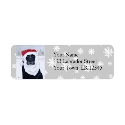 Black Labrador Christmas Santa Hat Painting Custom Return Address Labels by Naomi Ochiai