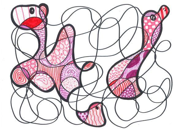 In stijl van de kunstenaar Dubuffet maakten de leerlingen uit klas 1Bk en 1K deze tekeningen: