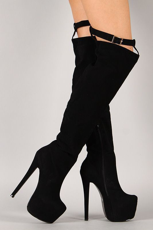 Buckle Stiletto Thigh High Platfrom Boot