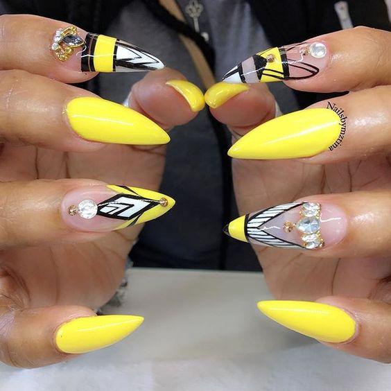 yellow matte nails - photo #18
