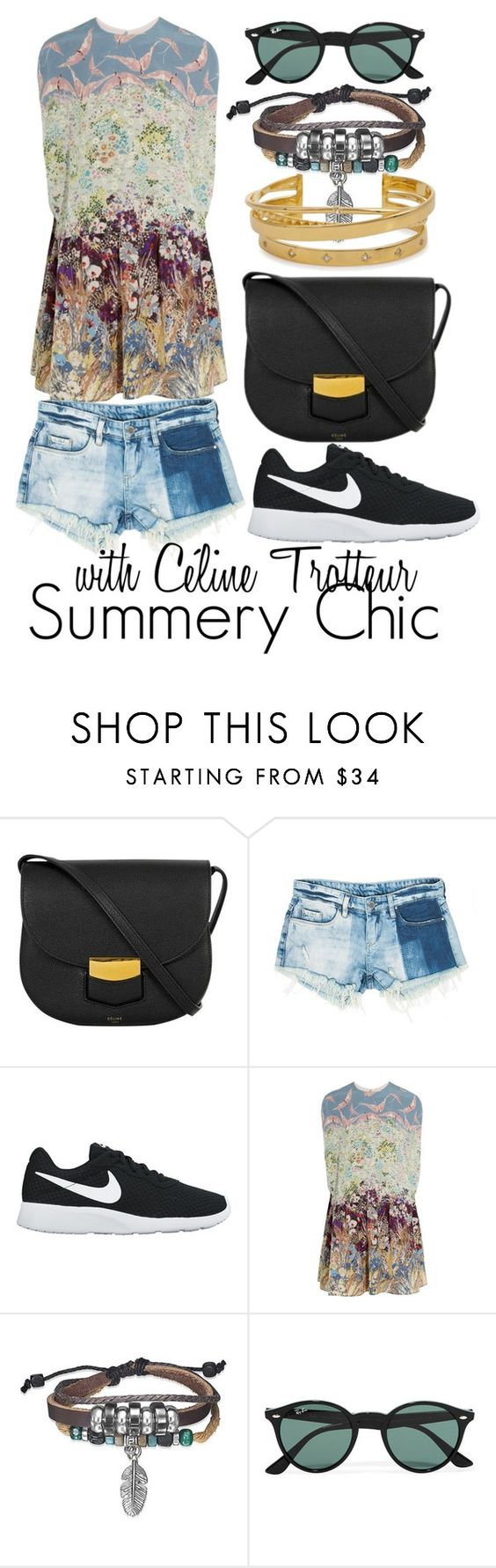 """""""Céline Trotteur - Summer"""" by luxurycitizen on Polyvore featuring Sans Souci, NIKE, Valentino, Bling Jewelry, Ray-Ban and Elizabeth and James"""