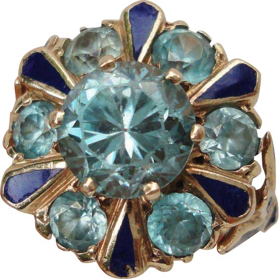 14K Yellow Gold Blue Zircon Cluster Ring Blue Enamel Accents found at www.rubylane.com @rubylanecom